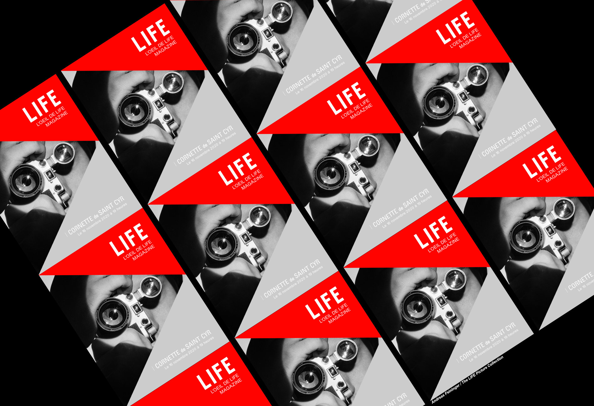 Bannière du magazine life répété sur un fond noir